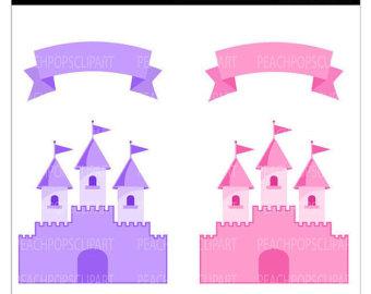 Cute Fairy Tale Castle Clip Art Dig Ital Clipart Pink Purple Fairy.
