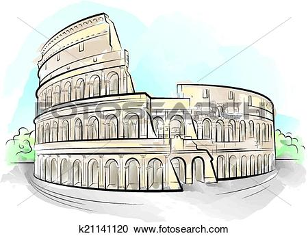 Clipart of Drawing color Colosseum, Rome, Ital k21141120.