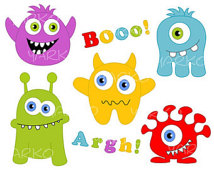 Clip Art Silly Monsters With Balloons Clipart.