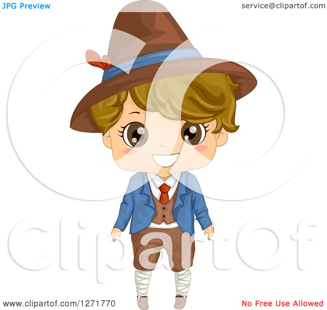 Clipart of a Happy Italian Boy in Traditional Clothes.