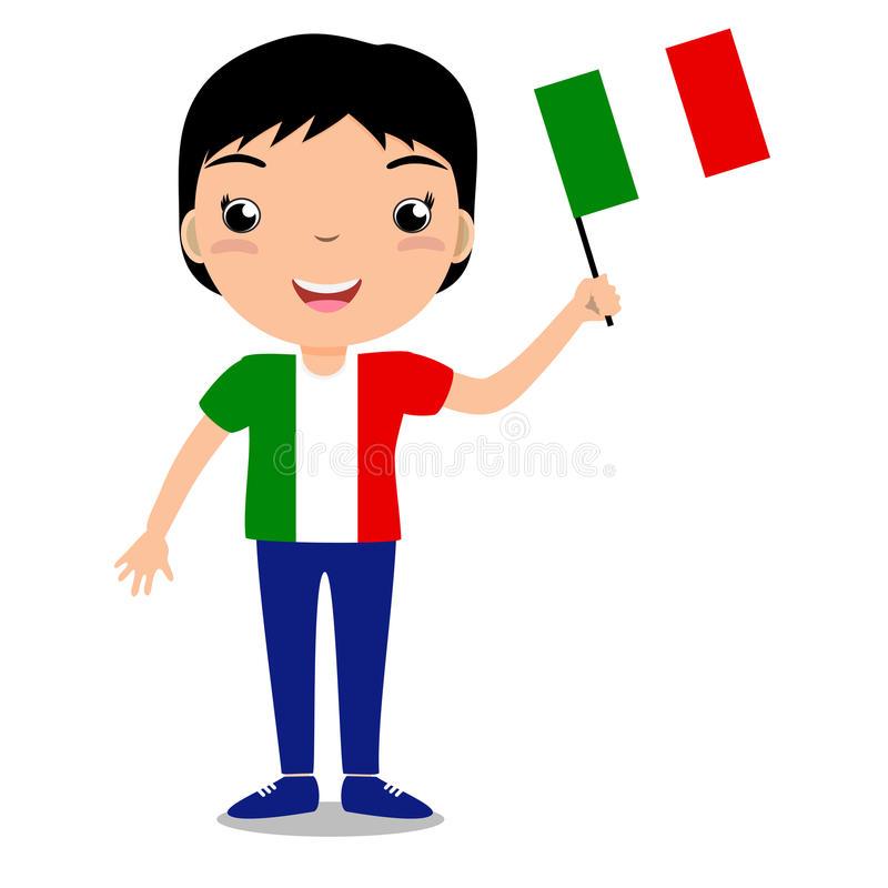 Kid Holding Italian Flag Stock Illustrations.