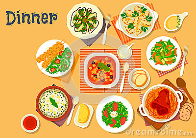 Dinner Icon With Dishes Of Italian, German Cuisine Stock Vector.