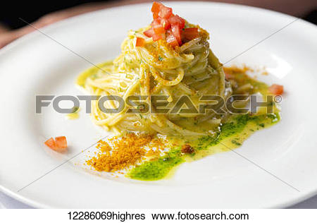 Stock Images of Fresh authentic Italian pasta with lemon butter.