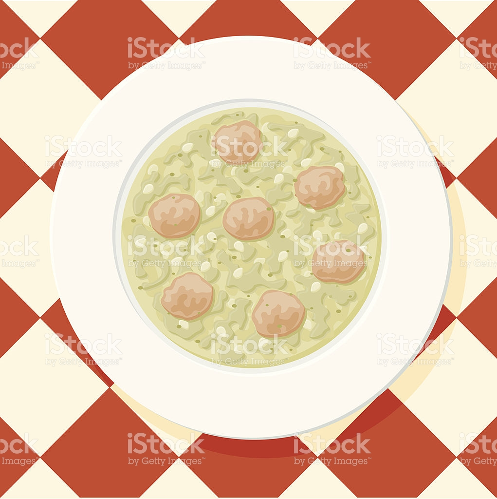 Italian Wedding Soup stock vector art 136890788.