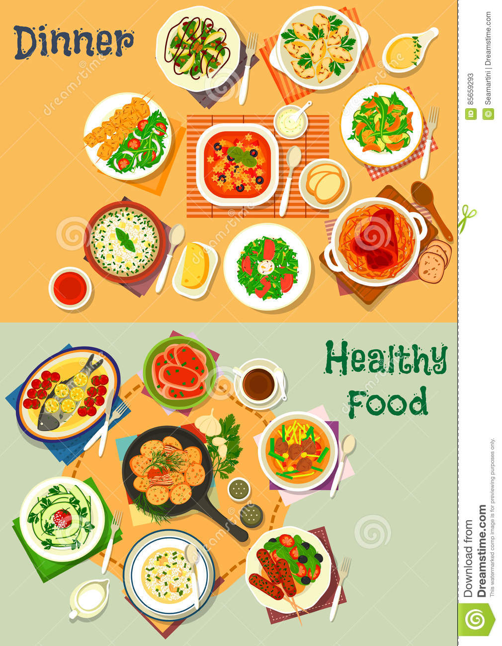 Healthy Lunch And Dinner Food Icon Set Design Stock Vector.