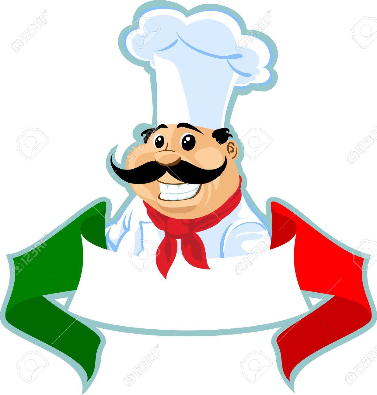 italian chef cook label.