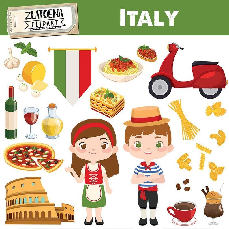 Italian clip art Italy clipart Pizza clipart Pasta Food Rome Colosseum  graphics Digital Italy Party Clip Art Travel clipart Venice carnival.