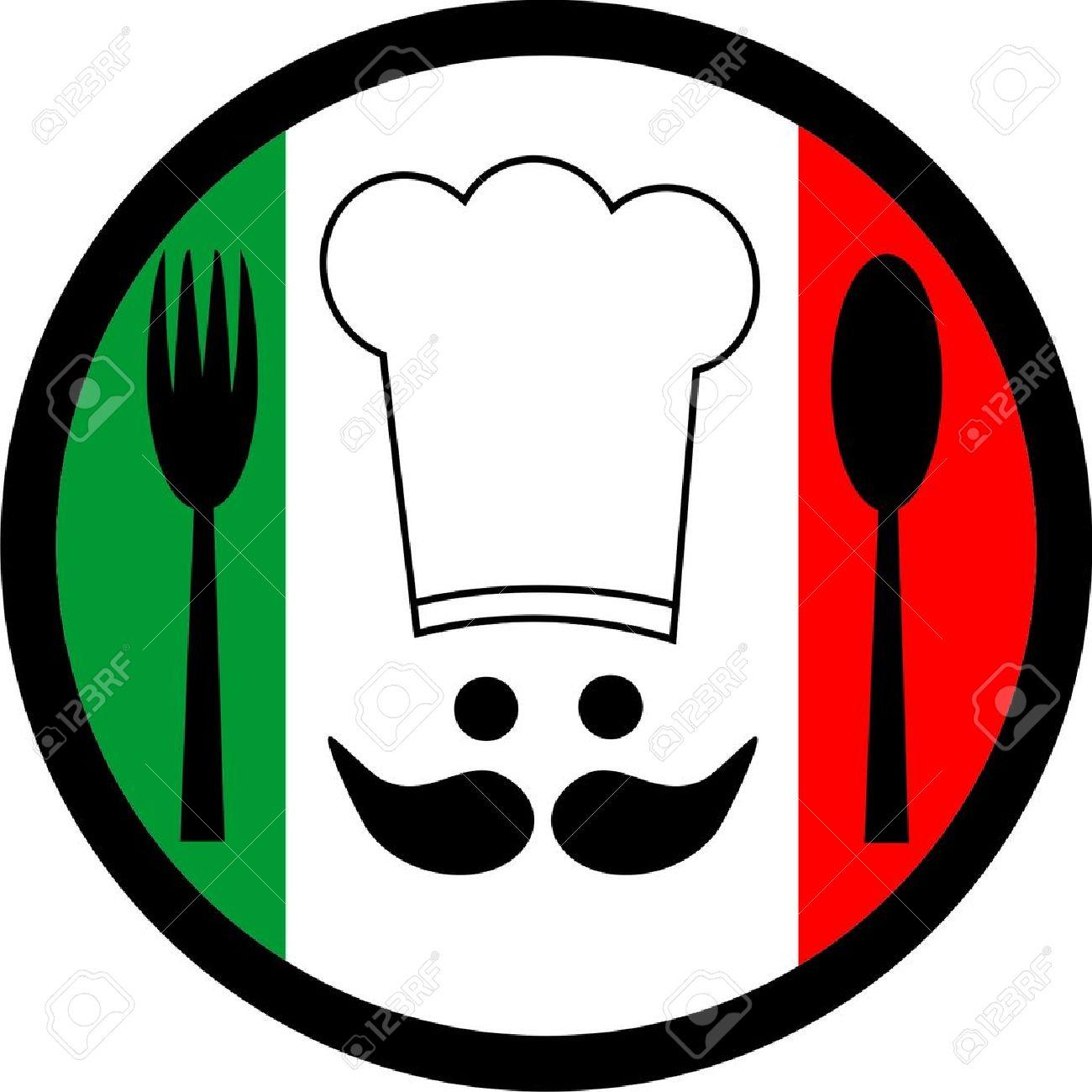 Italian Restaurant Logo With Flag: Italian Food Clipart