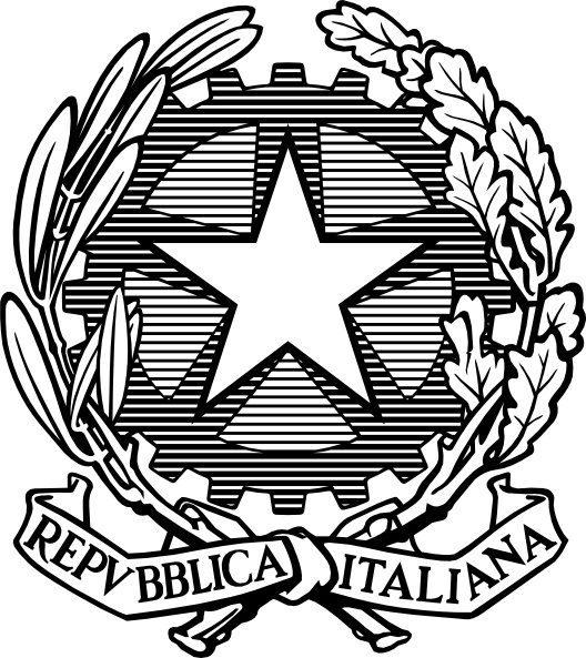 Black And White Italian Republic Emblem clip art Free vector.