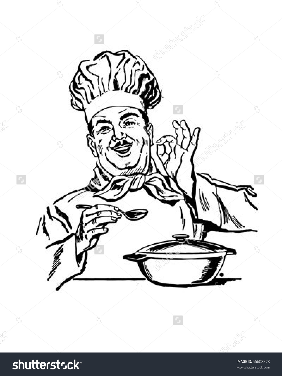 Italian Chef Retro Clip Art Stock Vector 56608378.