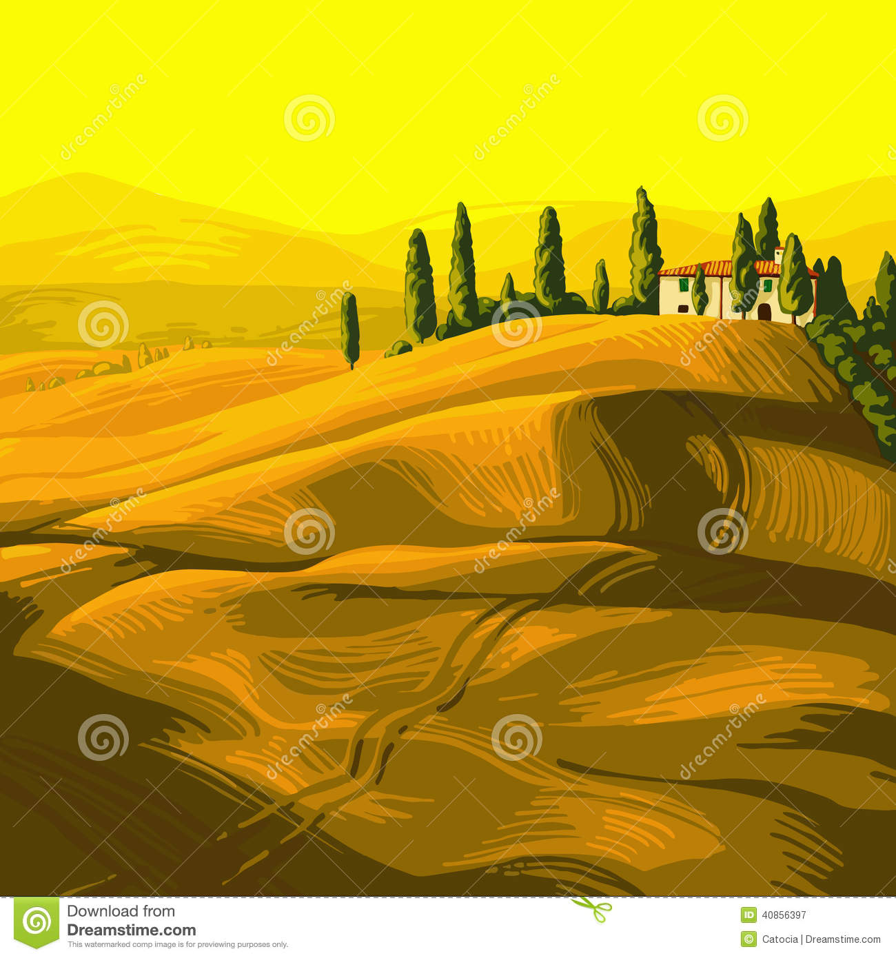 Italian Countryside Stock Illustrations.