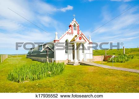 Stock Photo of Small rural church in the countryside.