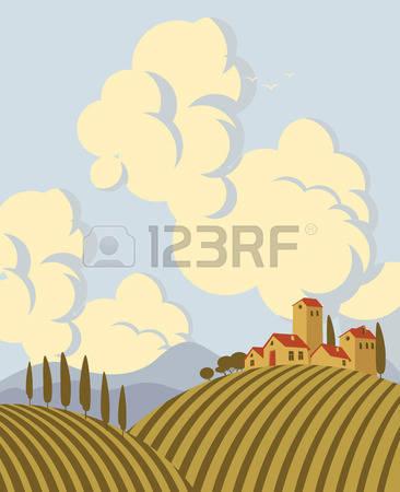 Italian countryside clipart.
