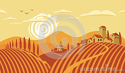 Road Italian Countryside Stock Illustrations.