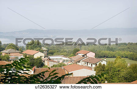 Picture of Red tile roofs on Italian countryside u12635327.