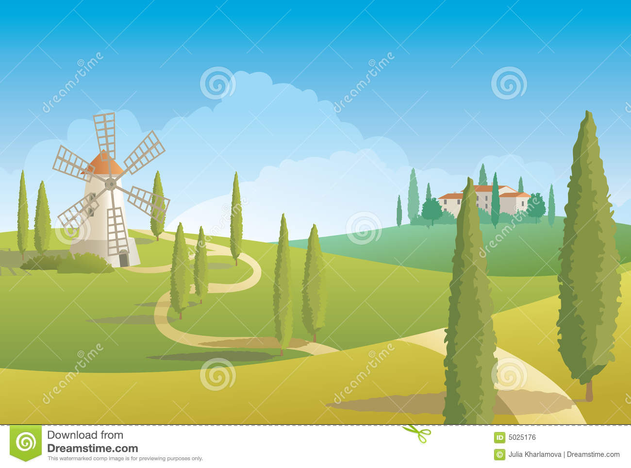 Italian Countryside Landscape Royalty Free Stock Image.