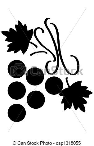 Stock Illustrations of Bunch of grapes with leaves stylized over.