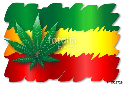 Rasta Flag and Cannabis Leaf.