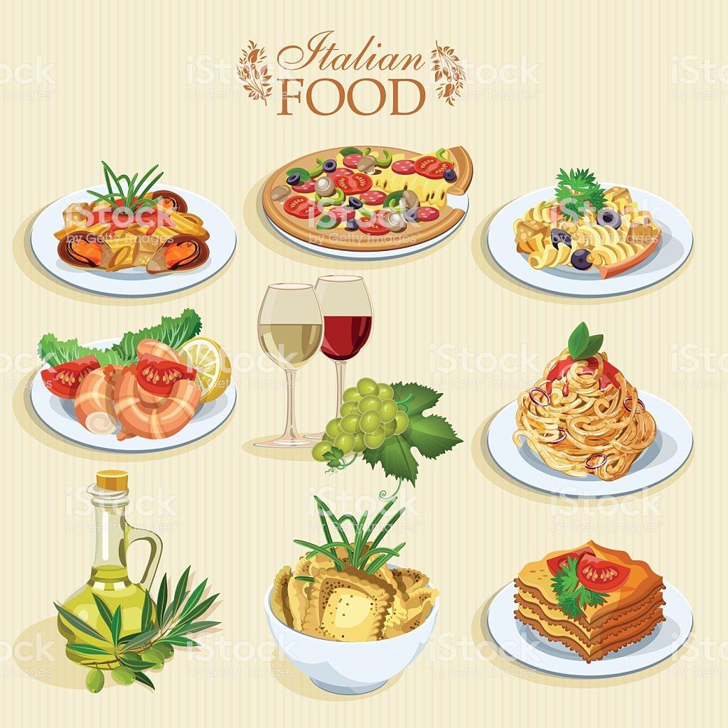 Set Of Food Icons Italian Cuisine Stock Illustration.