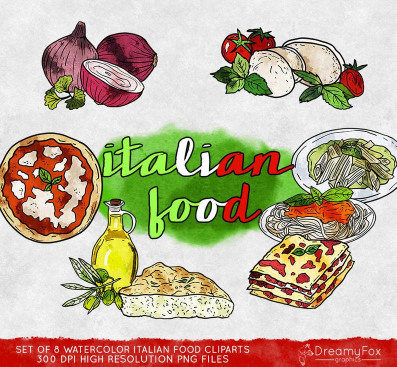 Italian food clipart commercial use, italian kitchen clipart watercolor,  digital clip art, digital images, instant download, food, dining.