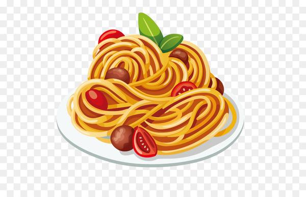 Pasta Italian cuisine Spaghetti with meatballs Clip art.