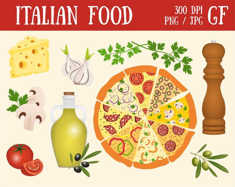 Italian Food Pizza Vegetables Olive Italy digital food clipart.