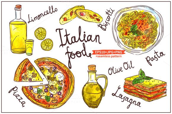 Watercolor Italian Food by alexrockheart on @creativemarket.