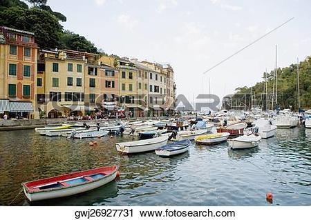 Stock Photography of Boats at a harbor, Italian Riviera, Portofino.