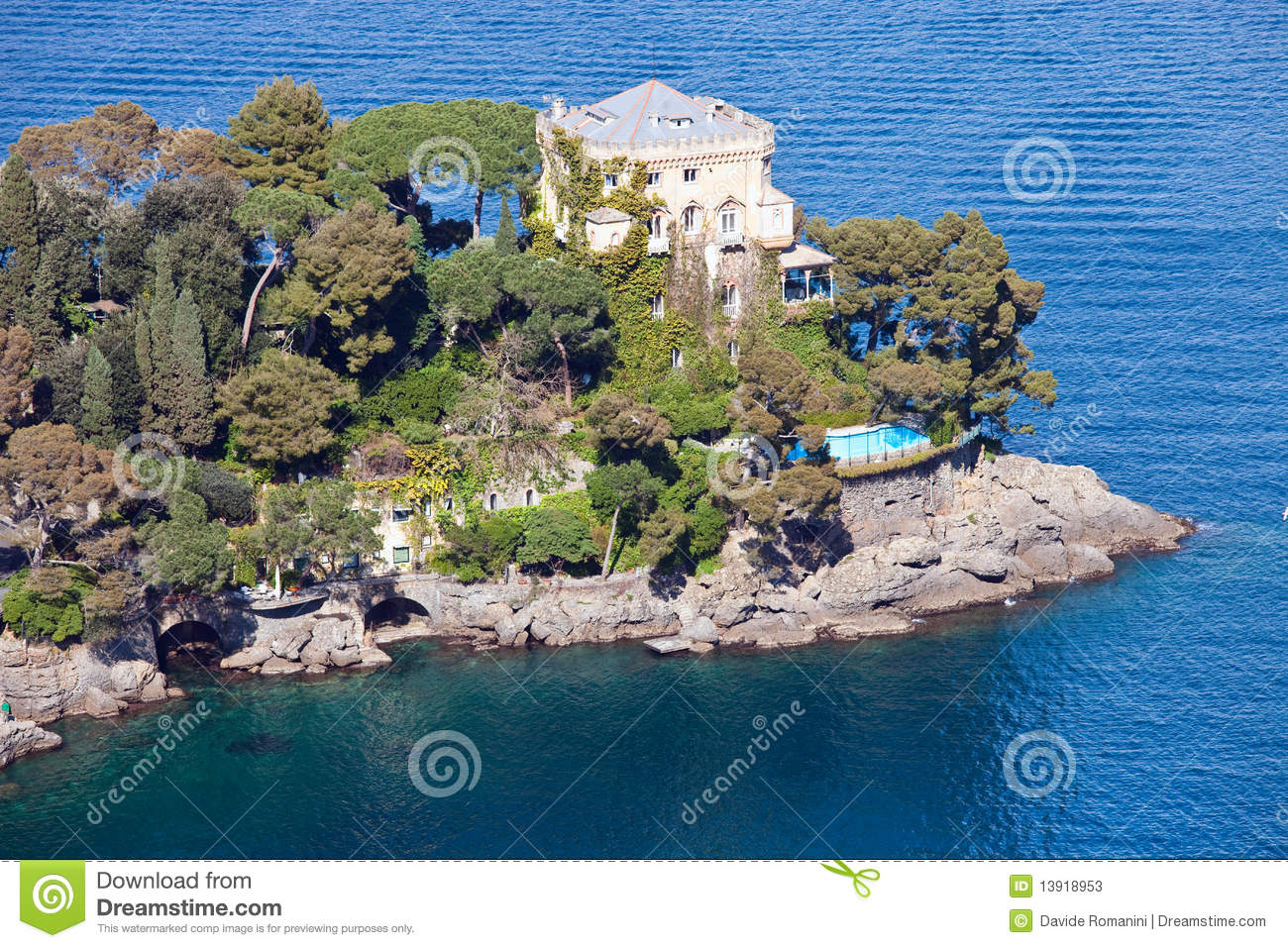 Italian Riviera Villa Stock Photos.