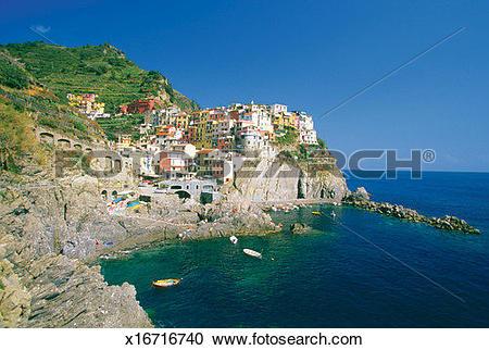 Stock Photography of Village of Riomaggiore on the Italian Riviera.