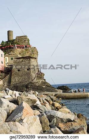 Stock Photograph of Castle at the seaside, Doria Castle, Italian.