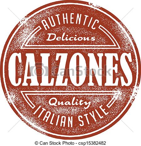 Vector of Vintage Italian Calzone Stamp.