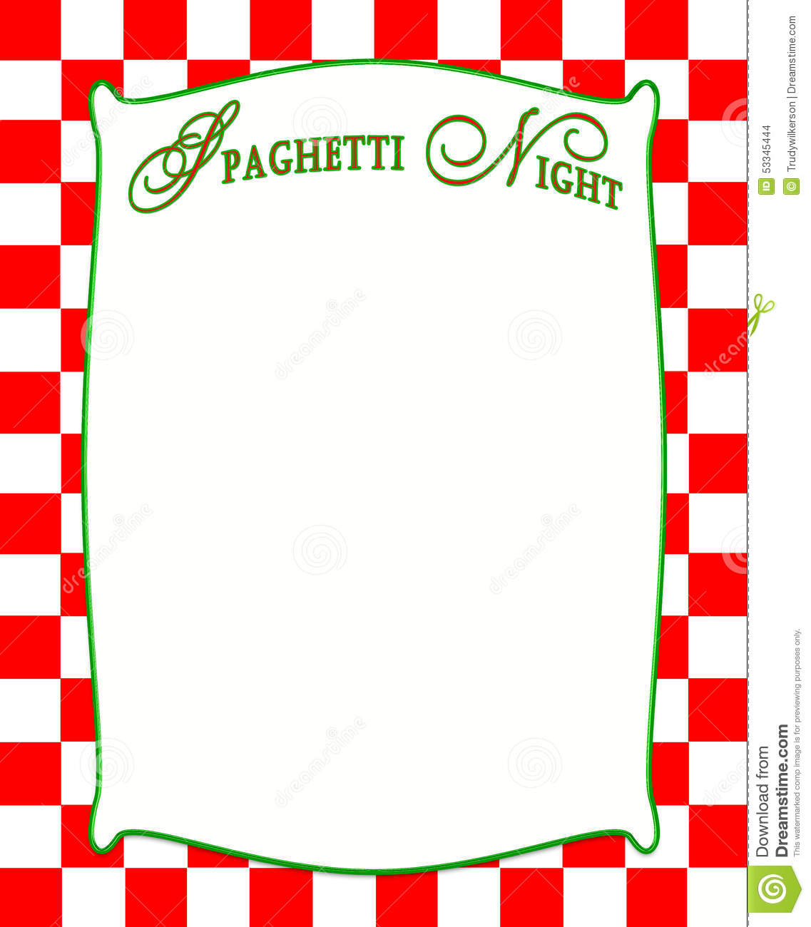 Spaghetti Night Background In Red Checkered Pattern Stock.