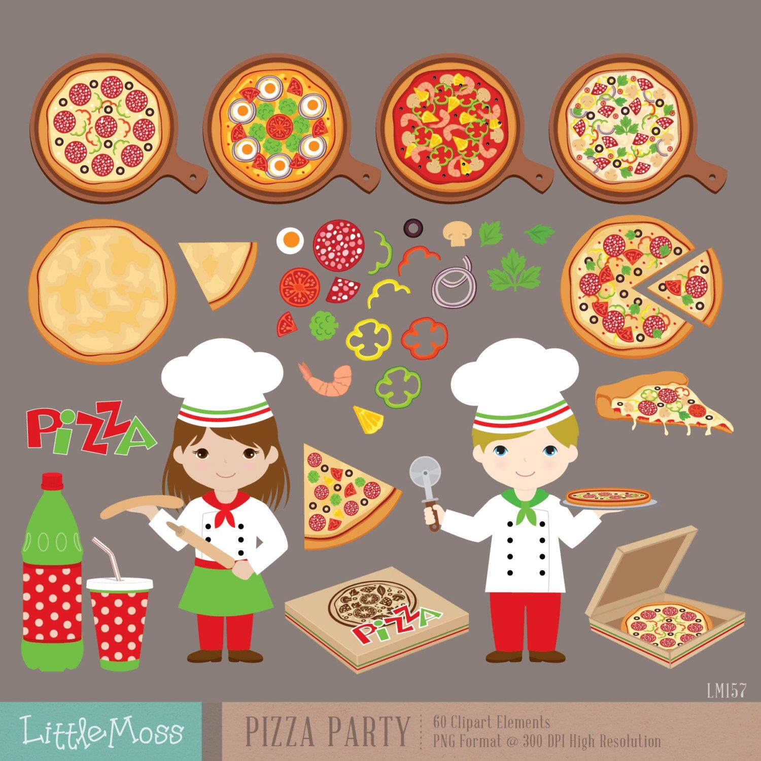 Pizza Party Digital Clipart, Italian Chef Clipart.