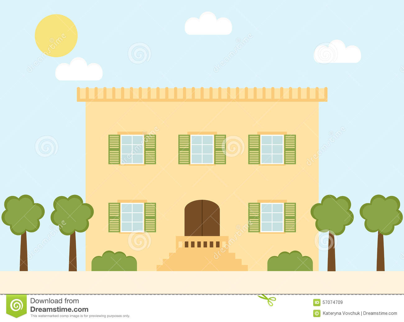 Retro Style Italian Village House With Window Shutters And Trees.