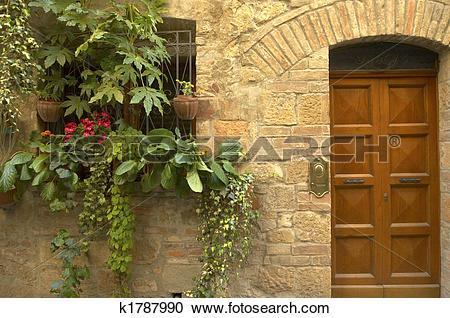 Stock Photography of Doorway garden, Italian village k1787990.