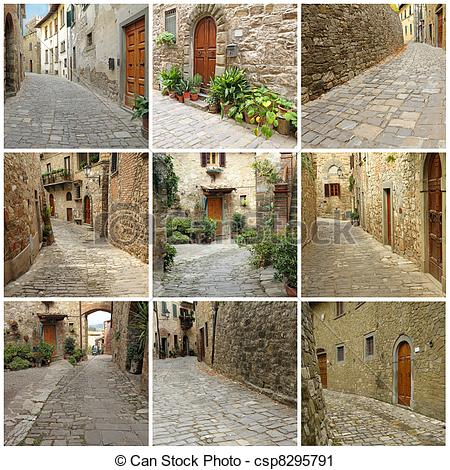 Stock Photography of italian village collage.