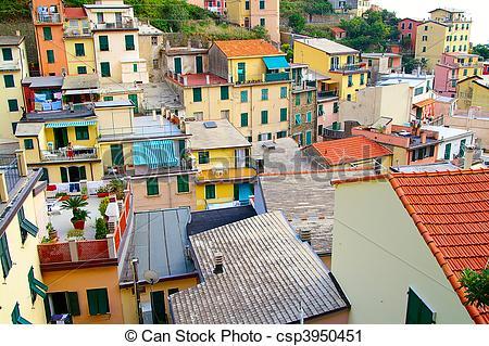 Stock Photography of small Italian village in Cinque Terre.