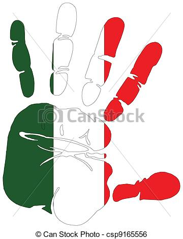 Clip Art Vector of flag of Italy hand print csp9165556.