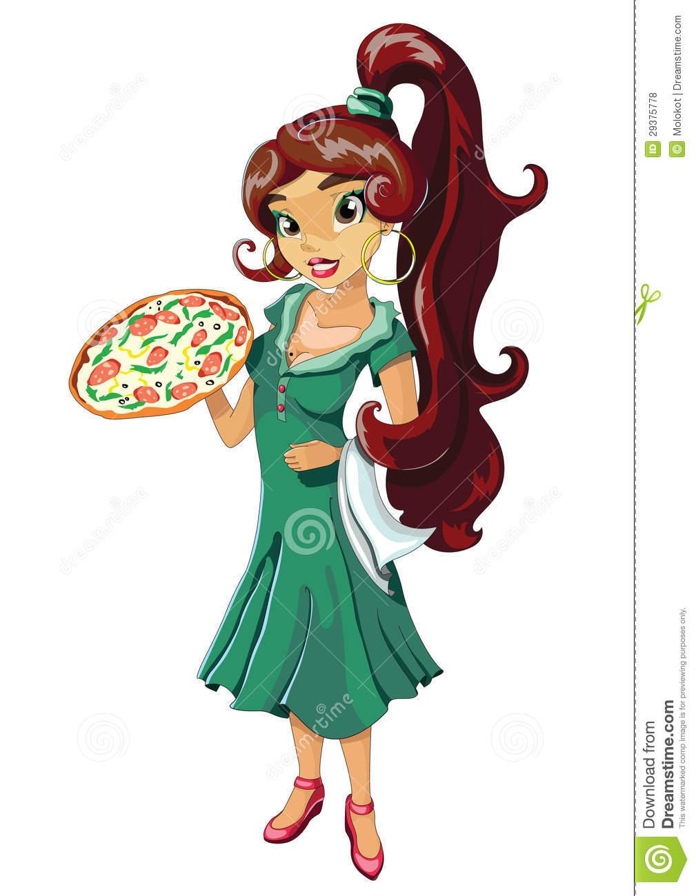 Italian woman clipart.