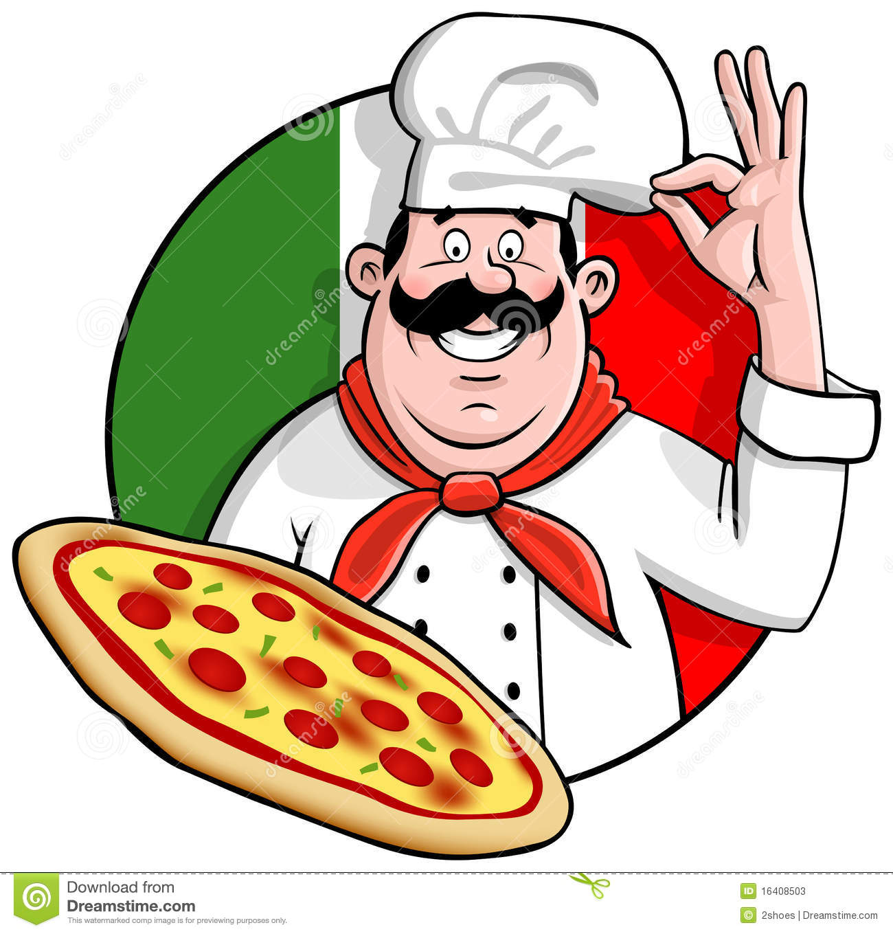 Italian Pizza Chef Clipart.