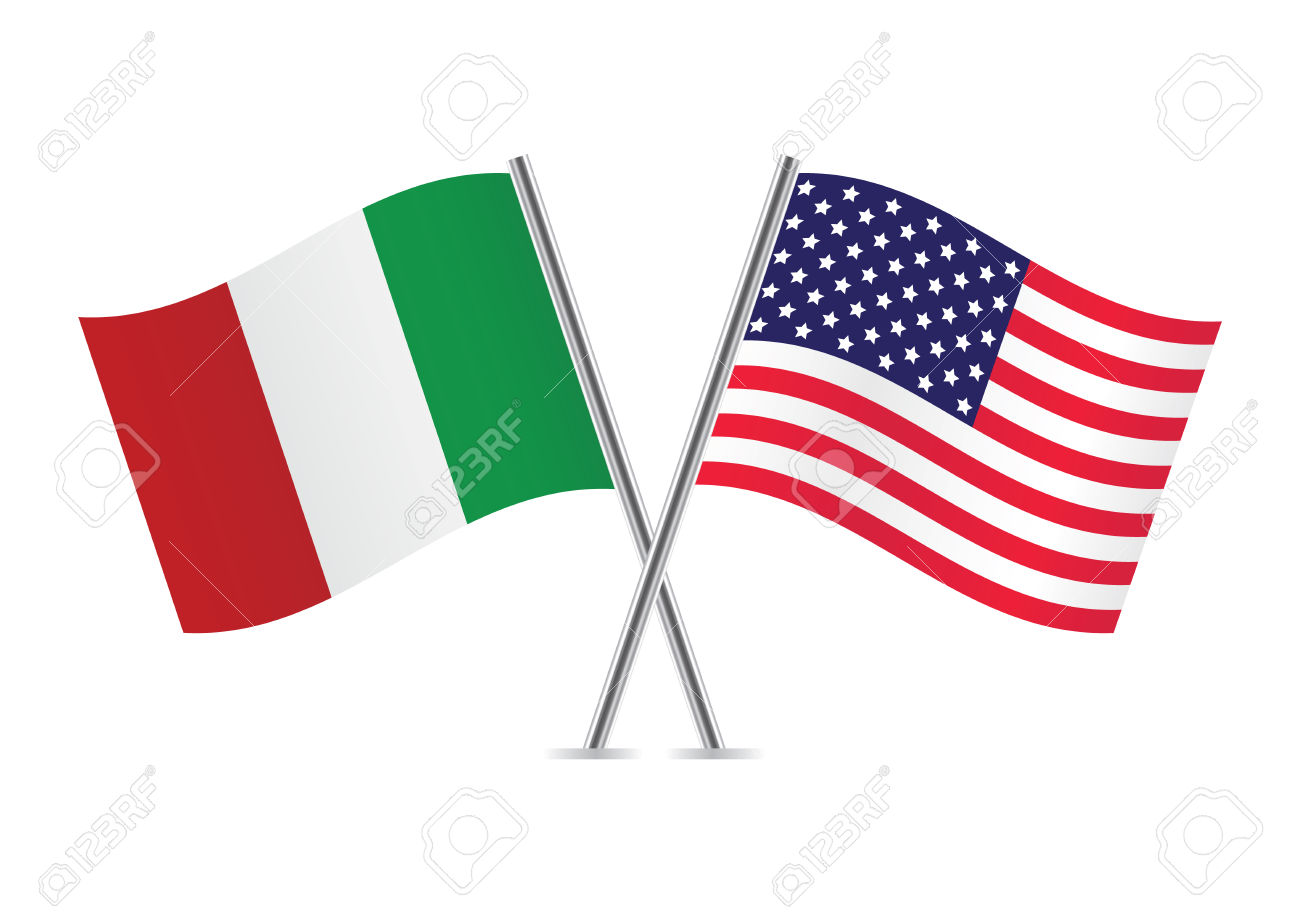 Bandiere Americane E Italiane Clipart Royalty.