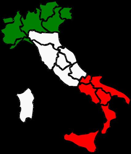 Mappa di Italia con regioni vettoriale immagine.
