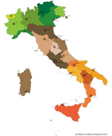 Mappa Italia gratis, file vettoriale.