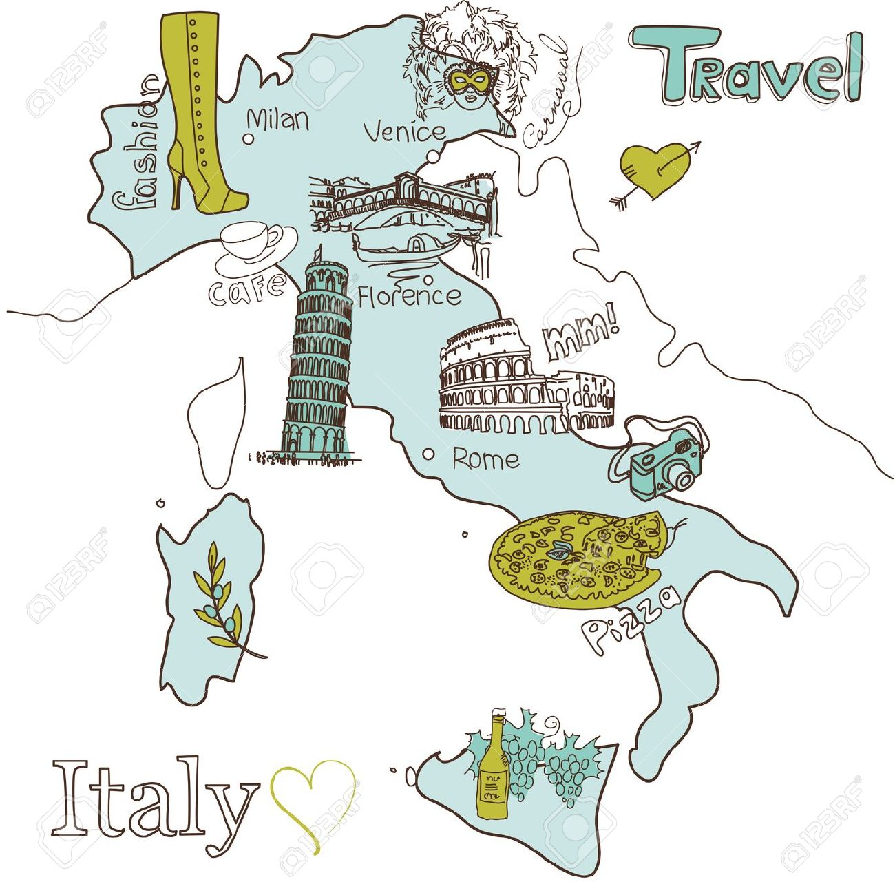 Mappa Creativo Di Italia Clipart Royalty.