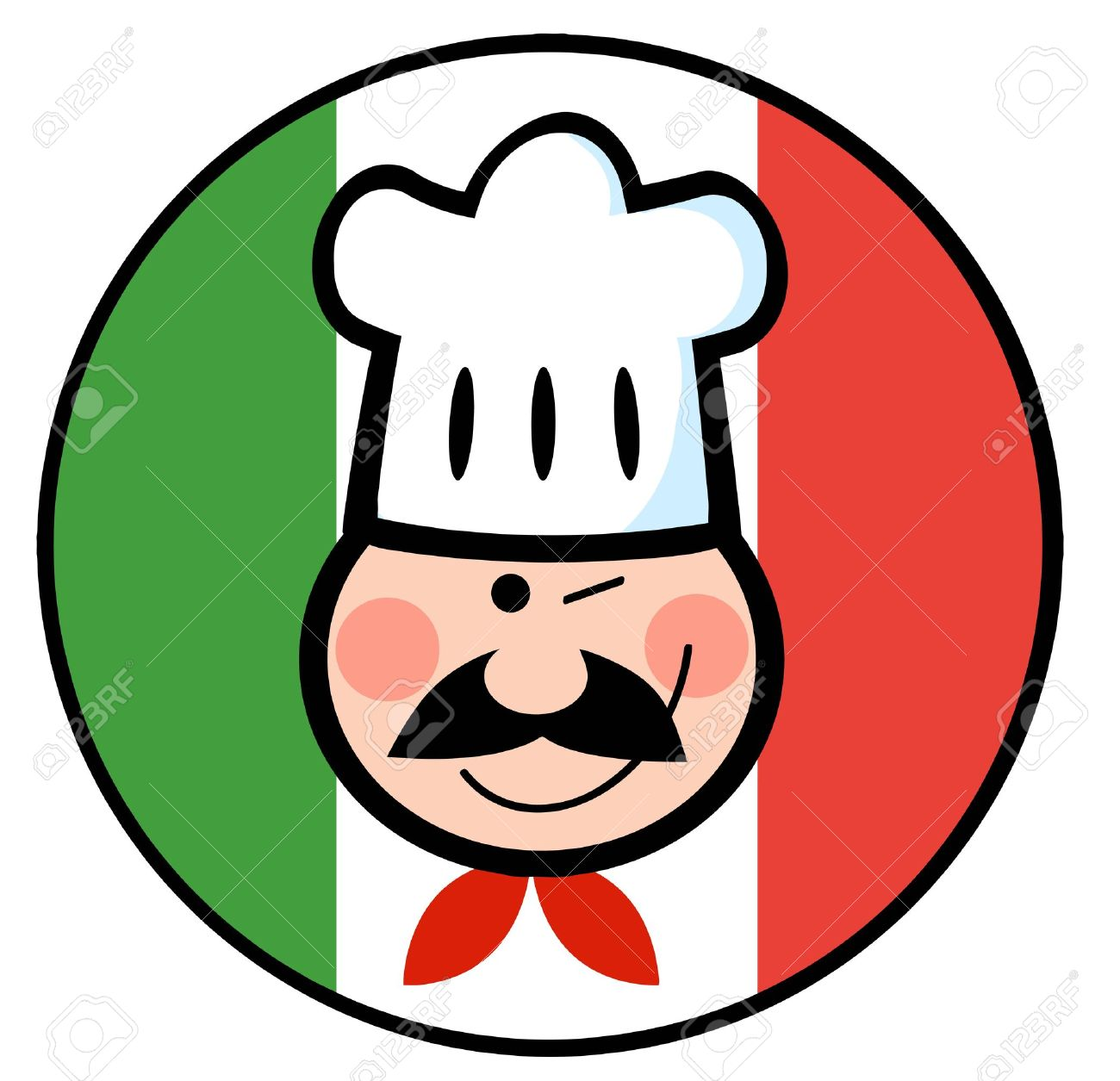 Strizza L'occhio Volto Chef Su Un Cerchio Bandiera Italiana.