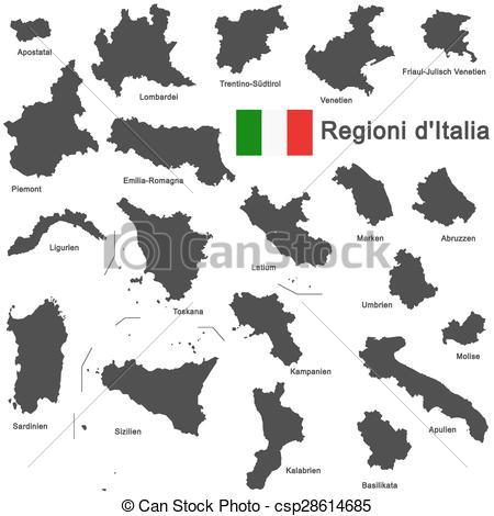 Vettore di regioni, italia.