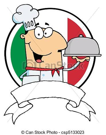 Vectors of Cartoon Male Chef Serving Food In A Sliver Platter In.