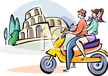 Couple on a Scooter in Italy.