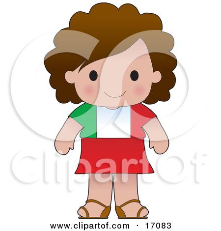 Cute Italian Girl Wearing A Flag Of Italy Shirt Clipart.